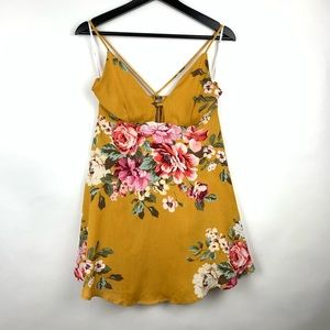 Lulus Lily Pond Swing Cage Floral Dress Strap Crep